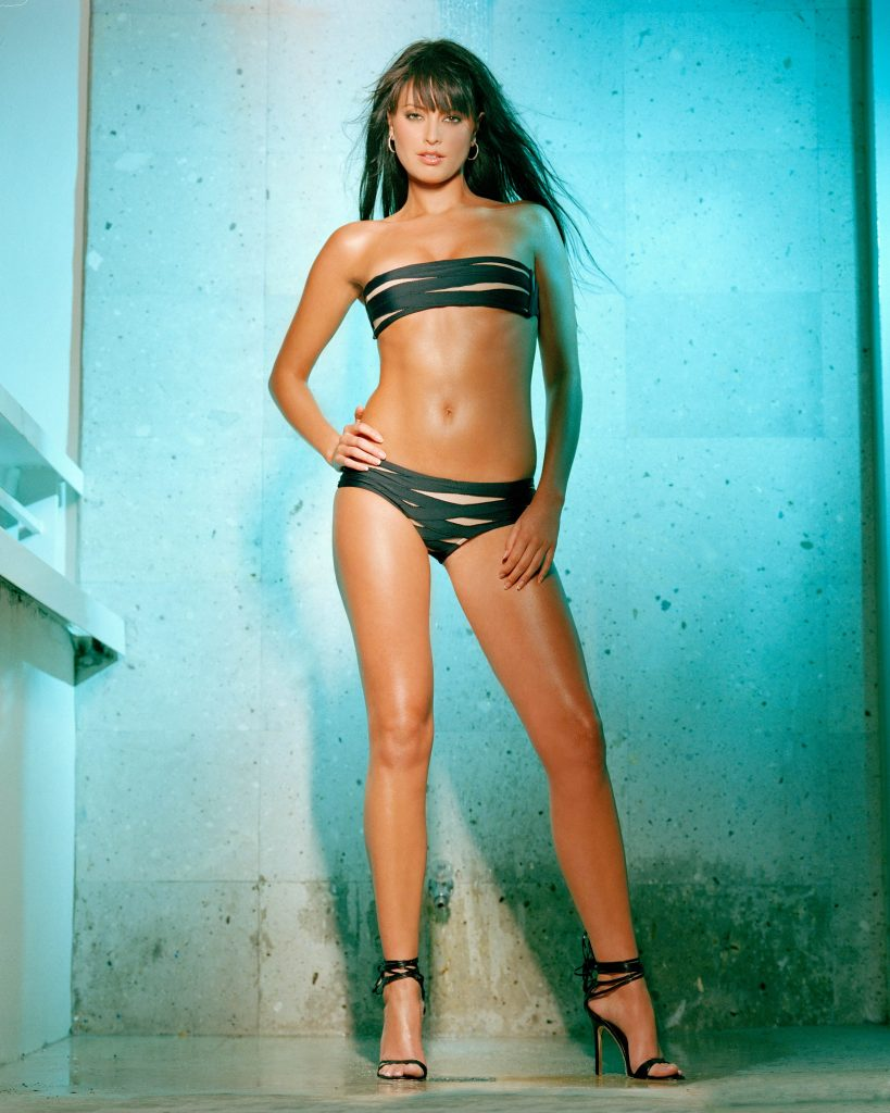 sexy brunette tall full size bikini sexy legs wet